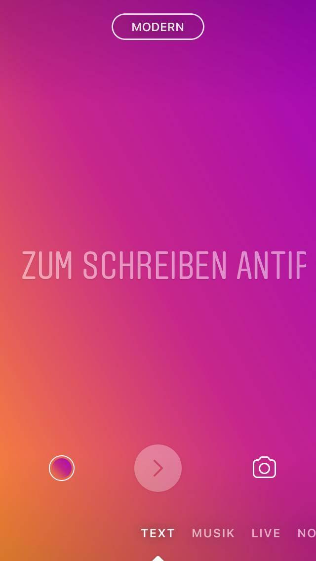 Instagram Stories, Standard Instagram Text Modus Hintergrund