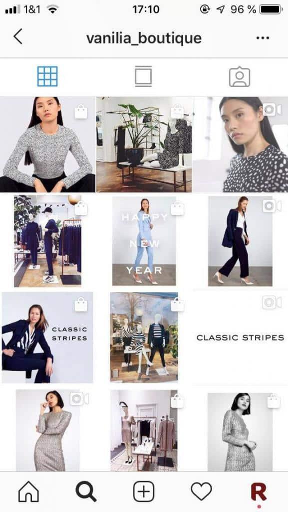 Instagram Shopping, Beispiel Feed für zu viele Beiträge