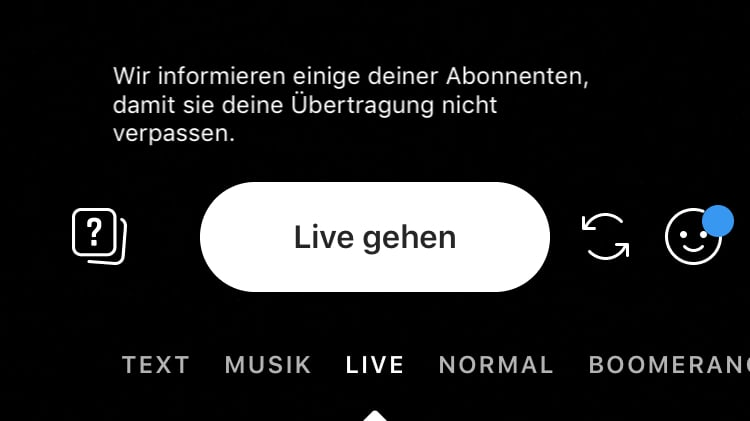 """Live Video starten"" Button bei Instagram"